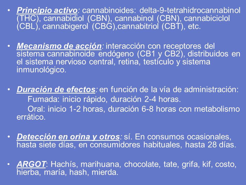 Principio activo: cannabinoides: delta-9-tetrahidrocannabinol (THC), cannabidiol (CBN), cannabinol (CBN), cannabiciclol (CBL), cannabigerol (CBG),cann