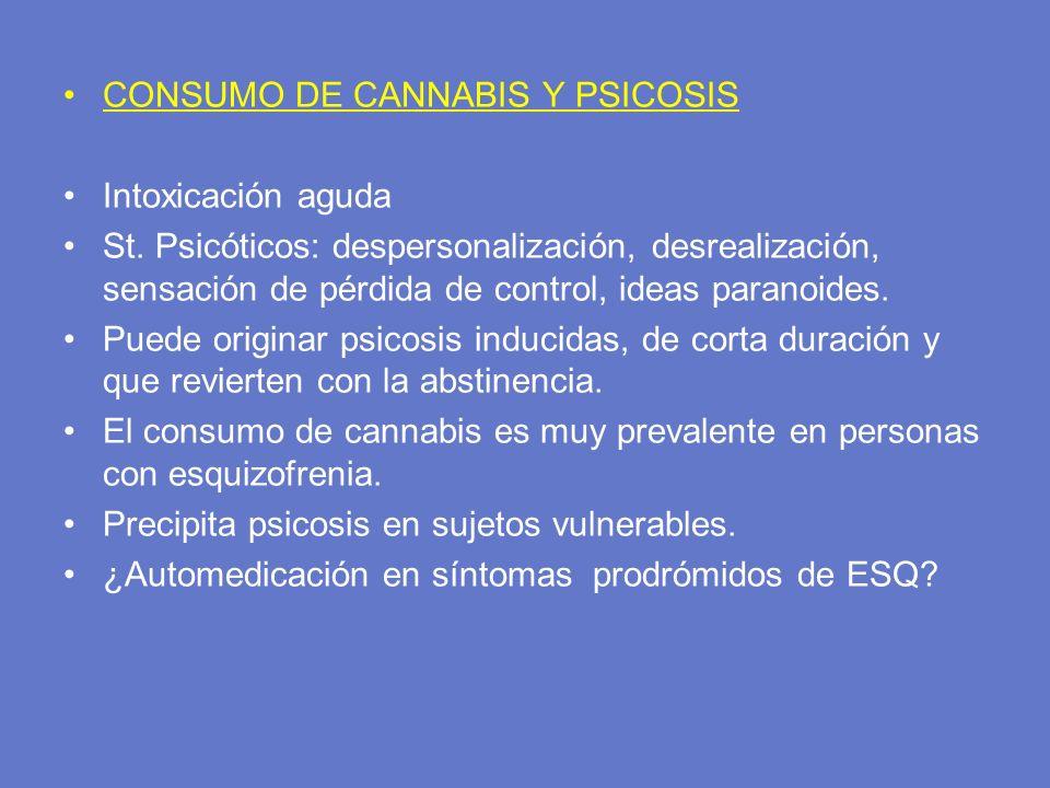 CONSUMO DE CANNABIS Y PSICOSIS Intoxicación aguda St. Psicóticos: despersonalización, desrealización, sensación de pérdida de control, ideas paranoide
