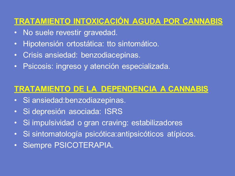 TRATAMIENTO INTOXICACIÓN AGUDA POR CANNABIS No suele revestir gravedad. Hipotensión ortostática: tto sintomático. Crisis ansiedad: benzodiacepinas. Ps