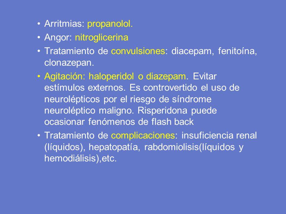 Arritmias: propanolol. Angor: nitroglicerina Tratamiento de convulsiones: diacepam, fenitoína, clonazepan. Agitación: haloperidol o diazepam. Evitar e