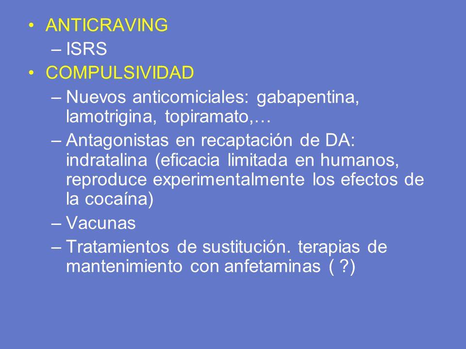 ANTICRAVING –ISRS COMPULSIVIDAD –Nuevos anticomiciales: gabapentina, lamotrigina, topiramato,… –Antagonistas en recaptación de DA: indratalina (eficac