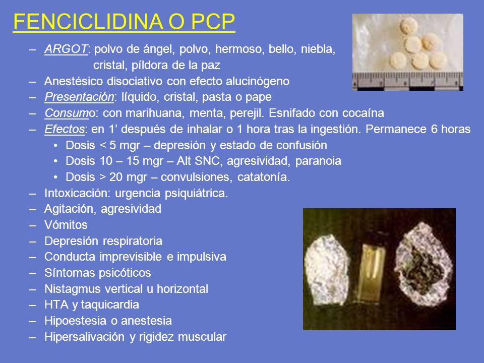 FENCICLIDINA O PCP –ARGOT: polvo de ángel, polvo, hermoso, bello, niebla, cristal, píldora de la paz –Anestésico disociativo con efecto alucinógeno –P