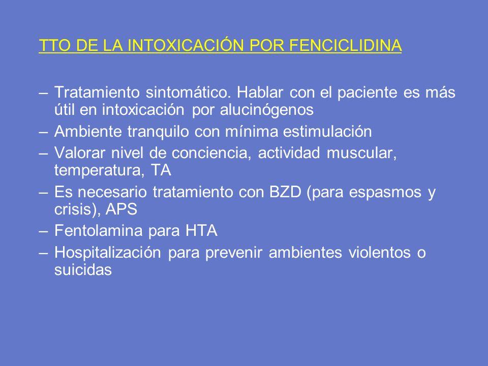 TTO DE LA INTOXICACIÓN POR FENCICLIDINA –Tratamiento sintomático. Hablar con el paciente es más útil en intoxicación por alucinógenos –Ambiente tranqu
