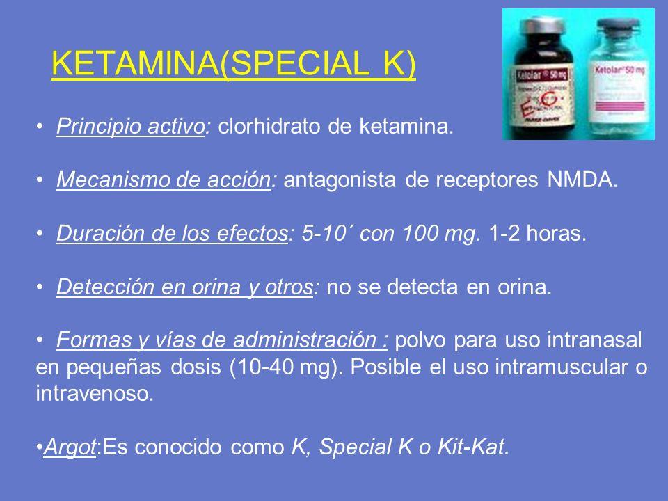 KETAMINA(SPECIAL K) Principio activo: clorhidrato de ketamina. Mecanismo de acción: antagonista de receptores NMDA. Duración de los efectos: 5-10´ con