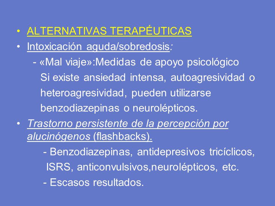 ALTERNATIVAS TERAPÉUTICAS Intoxicación aguda/sobredosis: - «Mal viaje»:Medidas de apoyo psicológico Si existe ansiedad intensa, autoagresividad o hete
