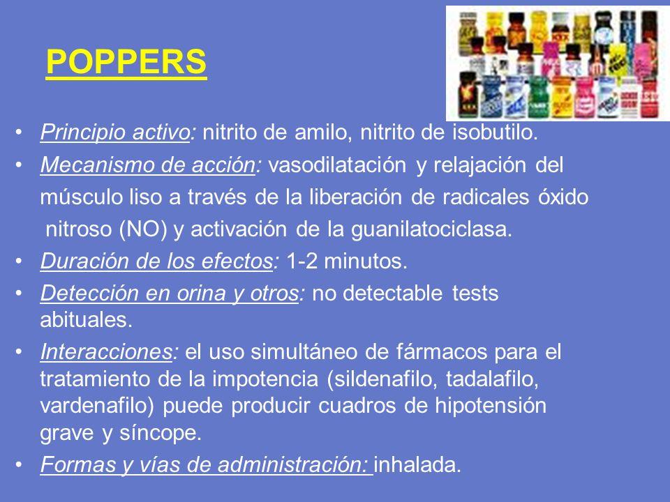 POPPERS Principio activo: nitrito de amilo, nitrito de isobutilo. Mecanismo de acción: vasodilatación y relajación del músculo liso a través de la lib