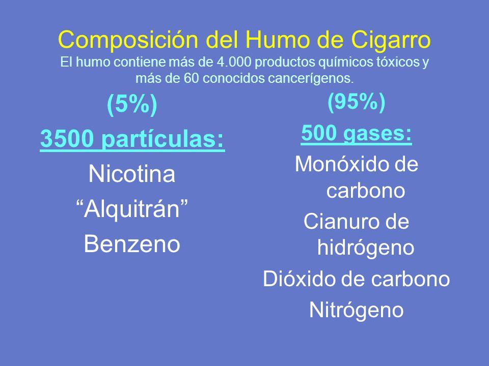 Composición del Humo de Cigarro El humo contiene más de 4.000 productos químicos tóxicos y más de 60 conocidos cancerígenos. (5%) 3500 partículas: Nic