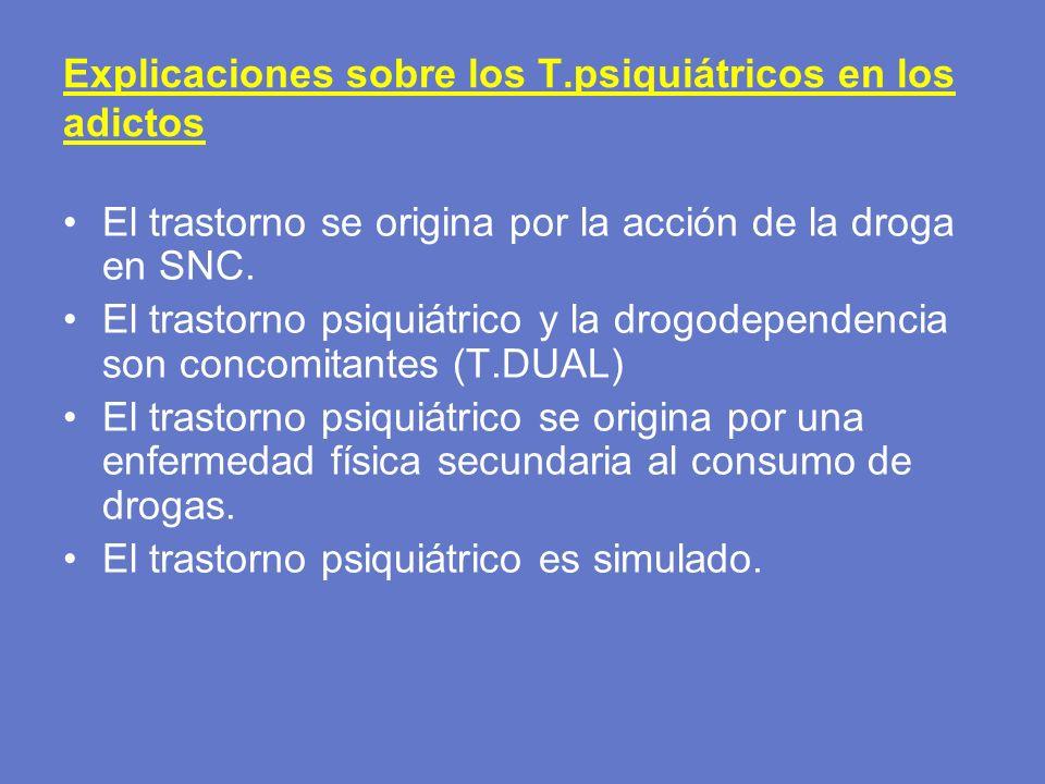 Explicaciones sobre los T.psiquiátricos en los adictos El trastorno se origina por la acción de la droga en SNC. El trastorno psiquiátrico y la drogod