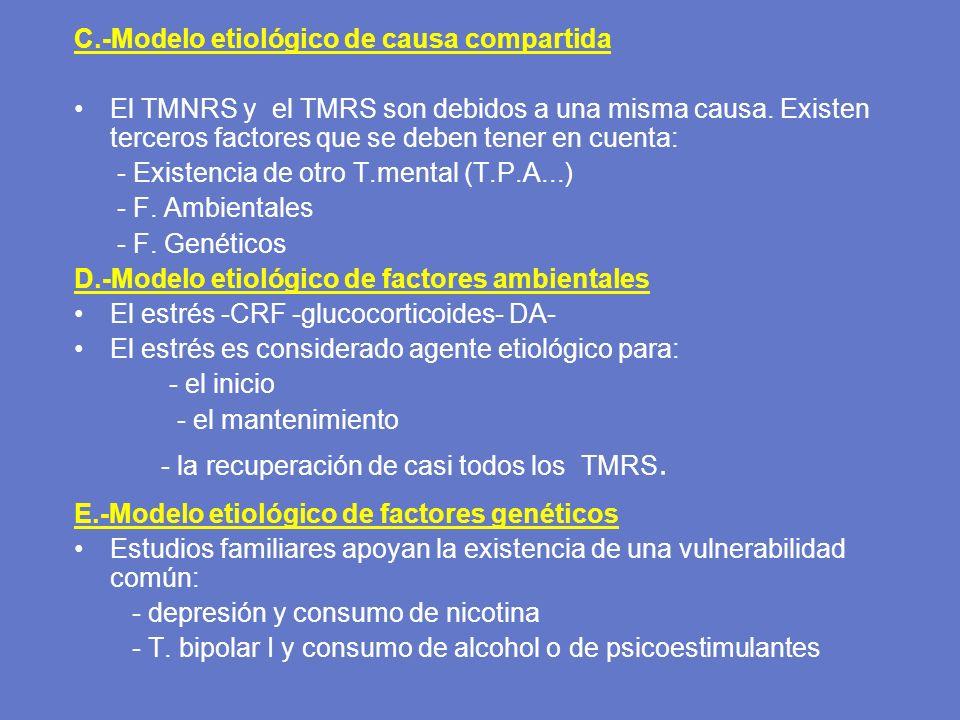 C.-Modelo etiológico de causa compartida El TMNRS y el TMRS son debidos a una misma causa. Existen terceros factores que se deben tener en cuenta: - E