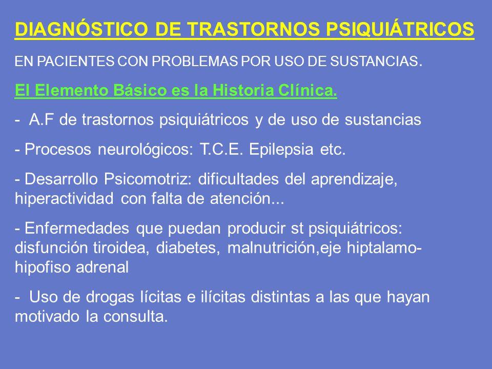 DIAGNÓSTICO DE TRASTORNOS PSIQUIÁTRICOS EN PACIENTES CON PROBLEMAS POR USO DE SUSTANCIAS. El Elemento Básico es la Historia Clínica. - A.F de trastorn