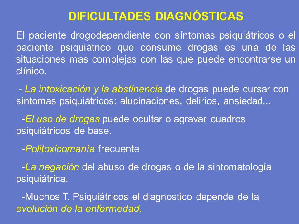 DIFICULTADES DIAGNÓSTICAS El paciente drogodependiente con síntomas psiquiátricos o el paciente psiquiátrico que consume drogas es una de las situacio