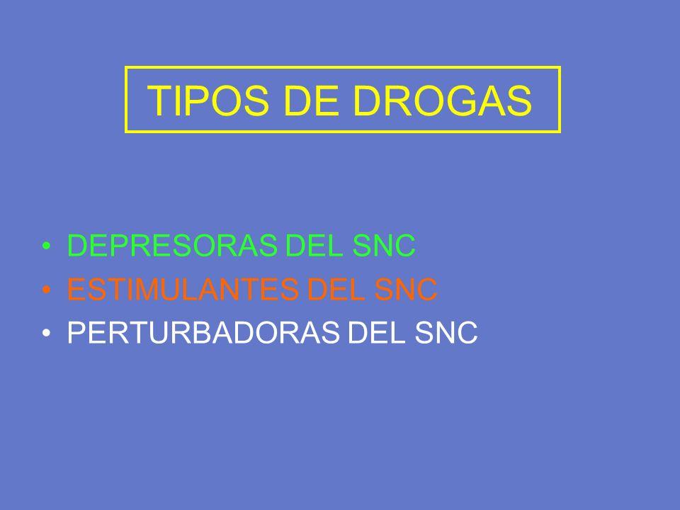 TIPOS DE DROGAS DEPRESORAS DEL SNC ESTIMULANTES DEL SNC PERTURBADORAS DEL SNC