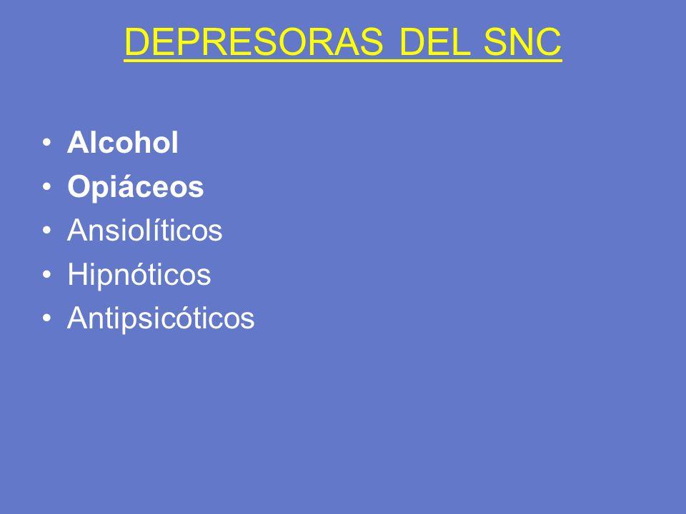 DEPRESORAS DEL SNC Alcohol Opiáceos Ansiolíticos Hipnóticos Antipsicóticos