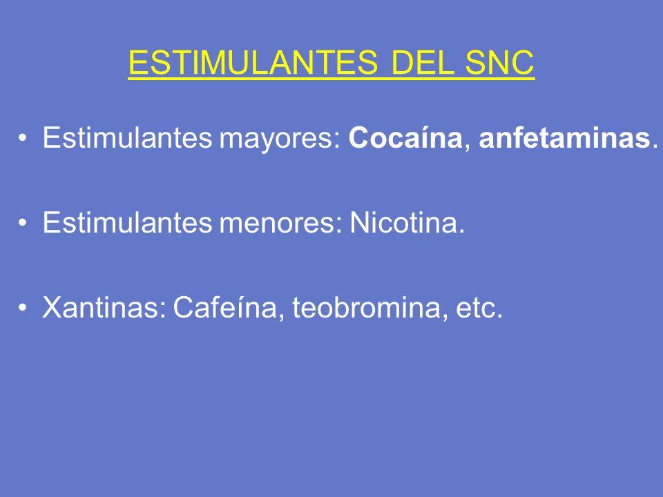 ESTIMULANTES DEL SNC Estimulantes mayores: Cocaína, anfetaminas. Estimulantes menores: Nicotina. Xantinas: Cafeína, teobromina, etc.