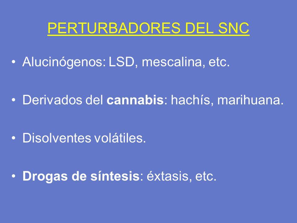 PERTURBADORES DEL SNC Alucinógenos: LSD, mescalina, etc. Derivados del cannabis: hachís, marihuana. Disolventes volátiles. Drogas de síntesis: éxtasis