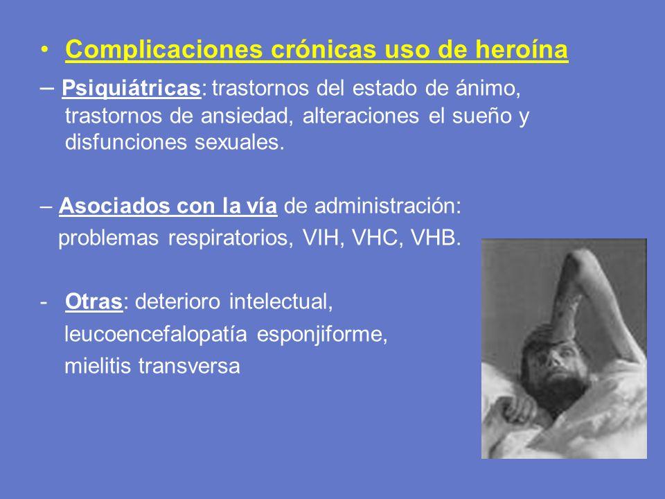 Complicaciones crónicas uso de heroína – Psiquiátricas: trastornos del estado de ánimo, trastornos de ansiedad, alteraciones el sueño y disfunciones s