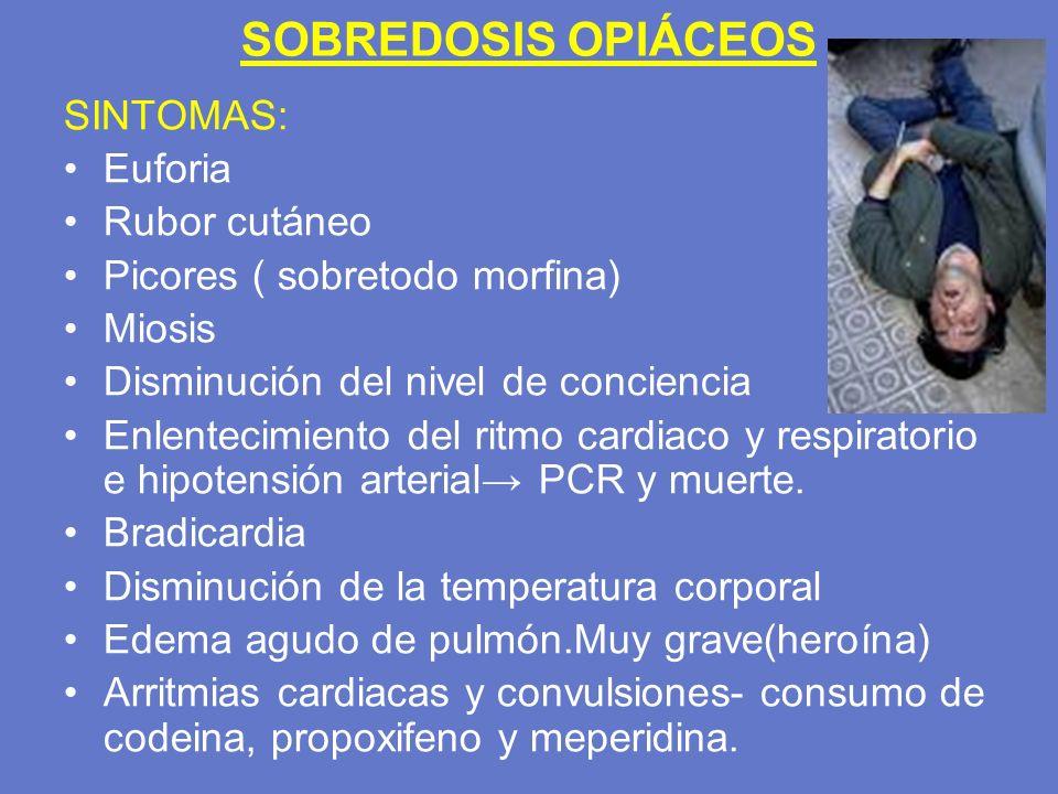 SOBREDOSIS OPIÁCEOS SINTOMAS: Euforia Rubor cutáneo Picores ( sobretodo morfina) Miosis Disminución del nivel de conciencia Enlentecimiento del ritmo