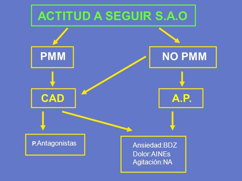 P. Antagonistas Ansiedad:BDZ Dolor:AINEs Agitación:NA PMM NO PMM CADA.P. ACTITUD A SEGUIR S.A.O