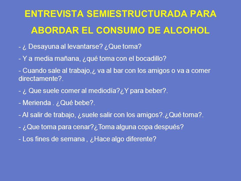 ENTREVISTA SEMIESTRUCTURADA PARA ABORDAR EL CONSUMO DE ALCOHOL - ¿ Desayuna al levantarse? ¿Que toma? - Y a media mañana, ¿qué toma con el bocadillo?