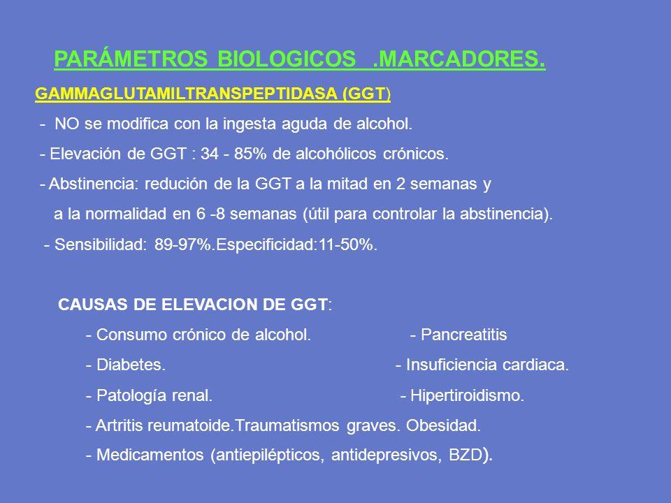 PARÁMETROS BIOLOGICOS.MARCADORES. GAMMAGLUTAMILTRANSPEPTIDASA (GGT) - NO se modifica con la ingesta aguda de alcohol. - Elevación de GGT : 34 - 85% de