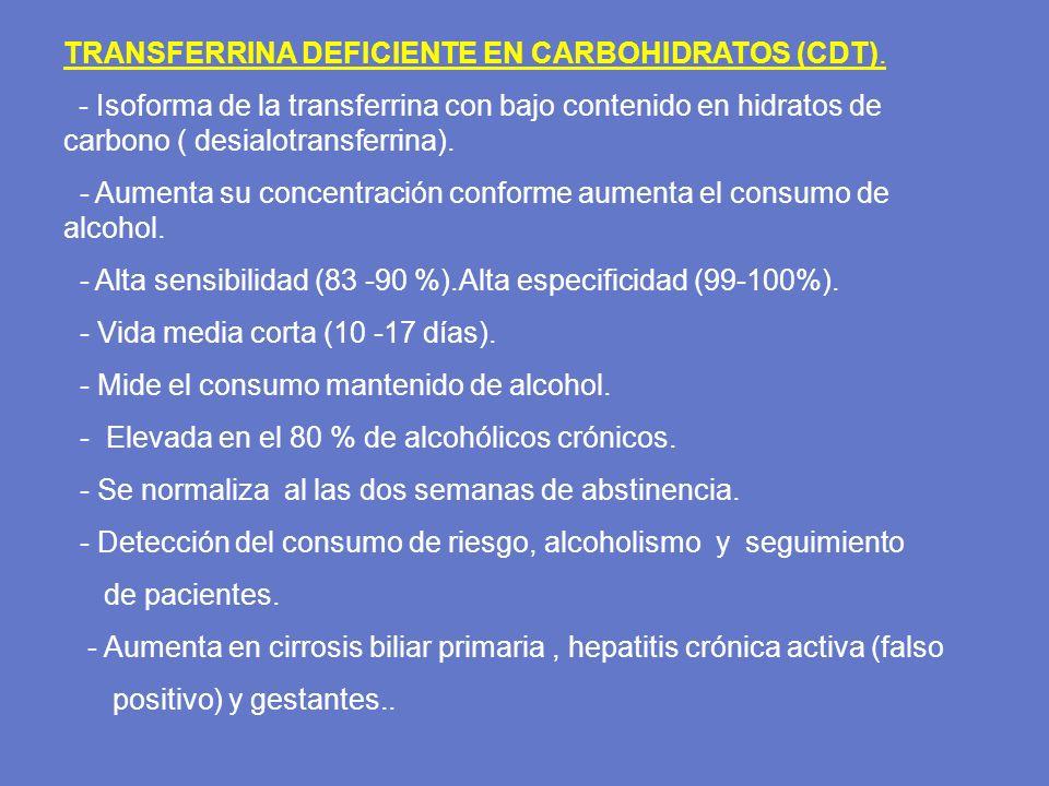 TRANSFERRINA DEFICIENTE EN CARBOHIDRATOS (CDT). - Isoforma de la transferrina con bajo contenido en hidratos de carbono ( desialotransferrina). - Aume