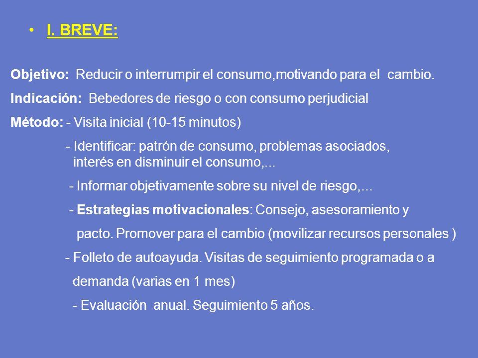 I. BREVE: Objetivo: Reducir o interrumpir el consumo,motivando para el cambio. Indicación: Bebedores de riesgo o con consumo perjudicial Método: - Vis