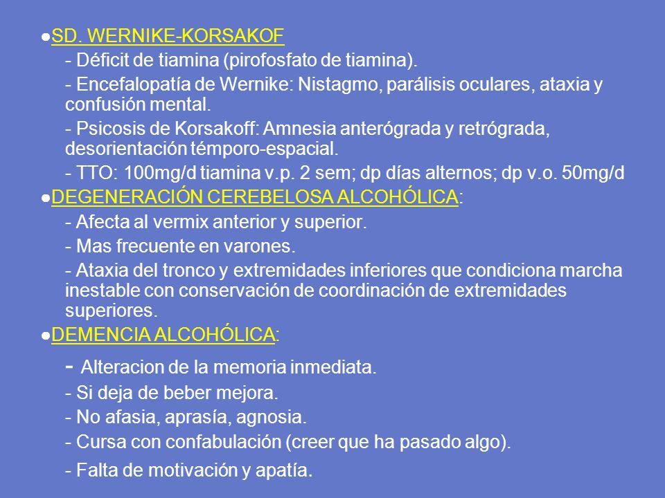 SD. WERNIKE-KORSAKOF - Déficit de tiamina (pirofosfato de tiamina). - Encefalopatía de Wernike: Nistagmo, parálisis oculares, ataxia y confusión menta