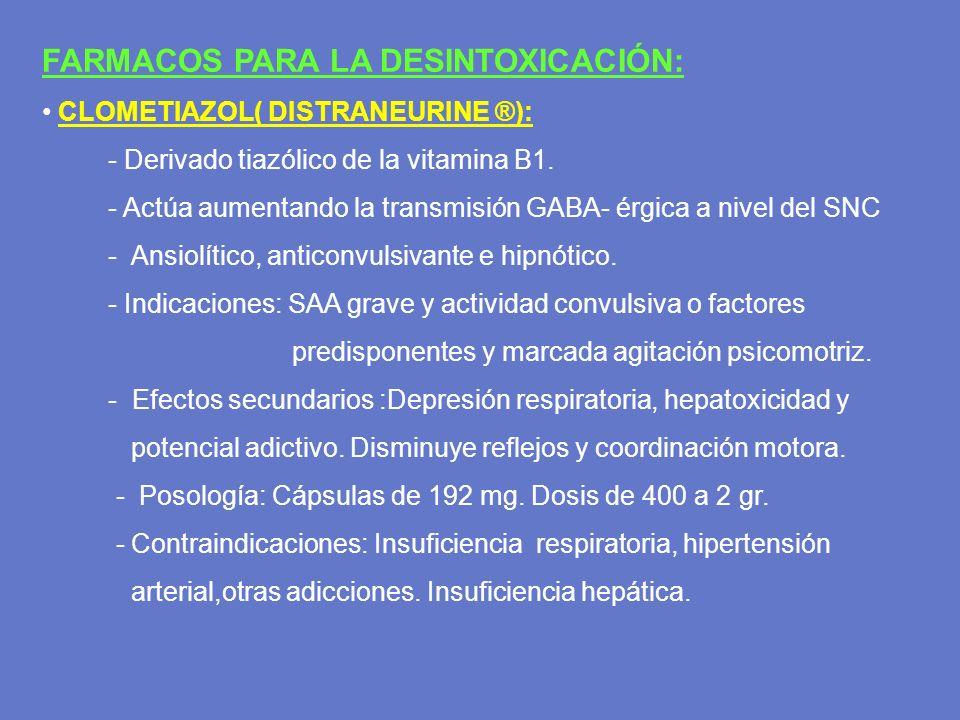 FARMACOS PARA LA DESINTOXICACIÓN: CLOMETIAZOL( DISTRANEURINE ®): - Derivado tiazólico de la vitamina B1. - Actúa aumentando la transmisión GABA- érgic