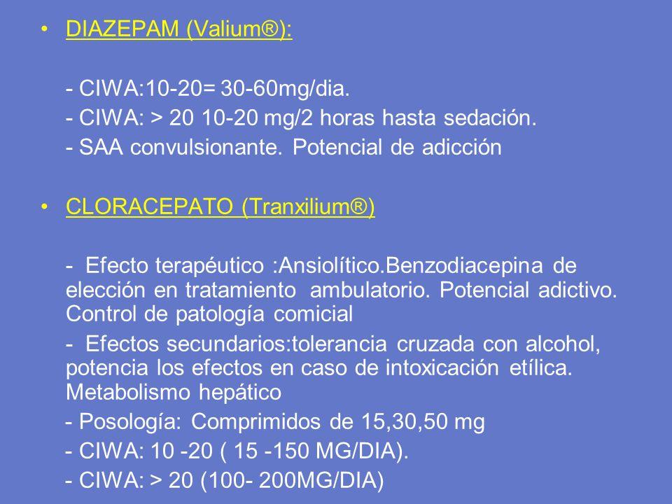DIAZEPAM (Valium®): - CIWA:10-20= 30-60mg/dia. - CIWA: > 20 10-20 mg/2 horas hasta sedación. - SAA convulsionante. Potencial de adicción CLORACEPATO (