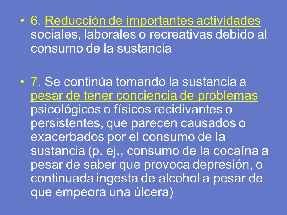 6. Reducción de importantes actividades sociales, laborales o recreativas debido al consumo de la sustancia 7. Se continúa tomando la sustancia a pesa