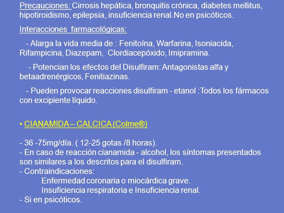 Precauciones: Cirrosis hepática, bronquitis crónica, diabetes mellitus, hipotiroidismo, epilepsia, insuficiencia renal.No en psicóticos. Interacciones
