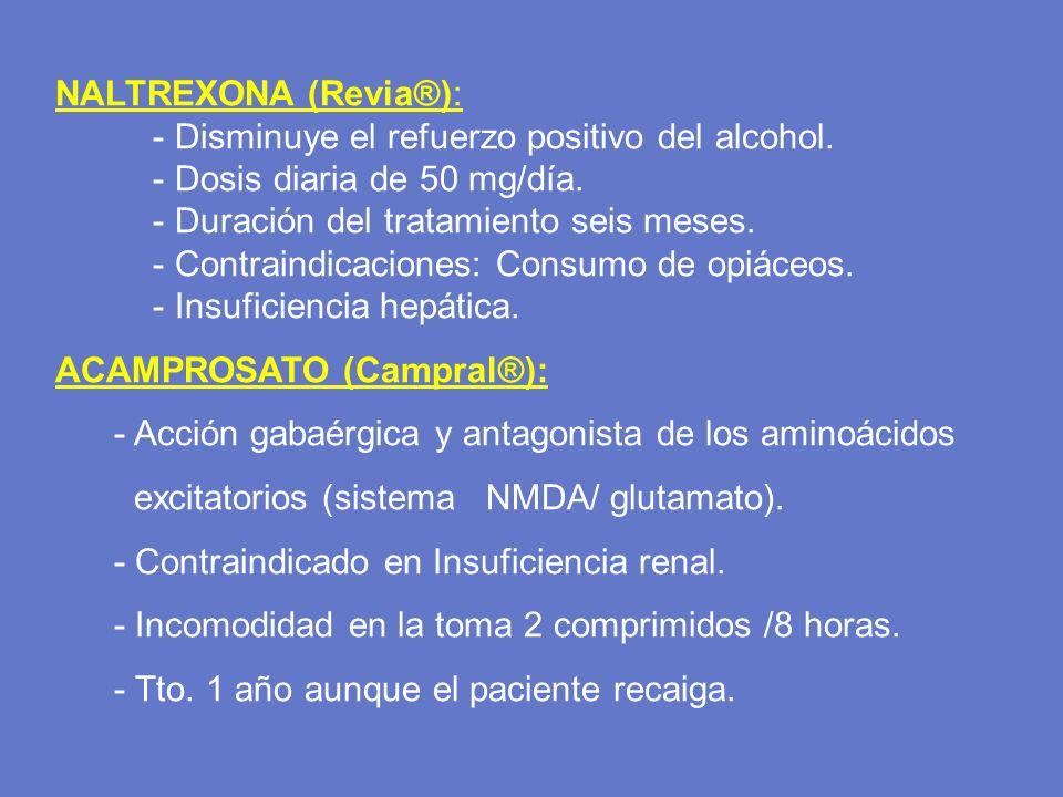 NALTREXONA (Revia®): - Disminuye el refuerzo positivo del alcohol. - Dosis diaria de 50 mg/día. - Duración del tratamiento seis meses. - Contraindicac