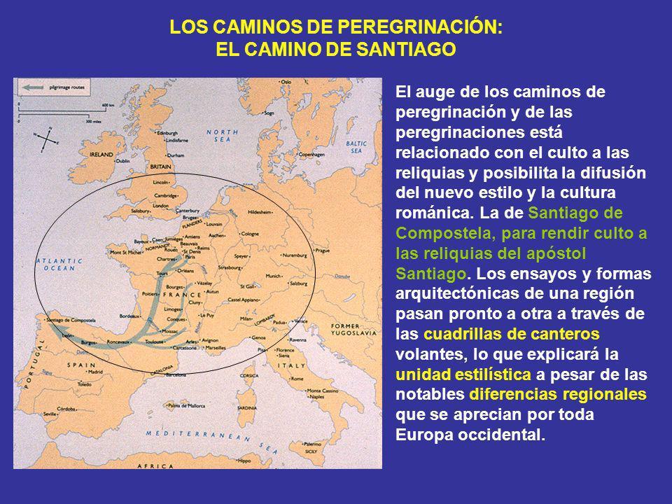 LOS CAMINOS DE PEREGRINACIÓN: EL CAMINO DE SANTIAGO El auge de los caminos de peregrinación y de las peregrinaciones está relacionado con el culto a l