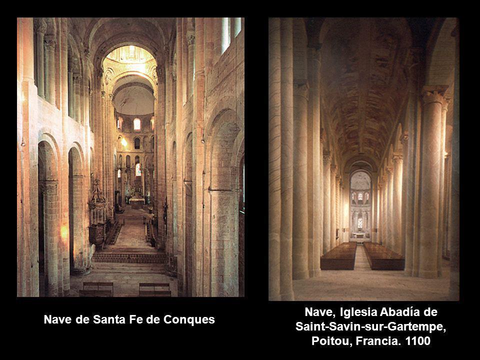 Nave, Iglesia Abadía de Saint-Savin-sur-Gartempe, Poitou, Francia. 1100 Nave de Santa Fe de Conques