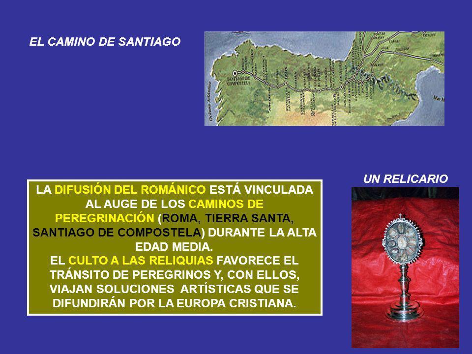 LA DIFUSIÓN DEL ROMÁNICO ESTÁ VINCULADA AL AUGE DE LOS CAMINOS DE PEREGRINACIÓN (ROMA, TIERRA SANTA, SANTIAGO DE COMPOSTELA) DURANTE LA ALTA EDAD MEDI