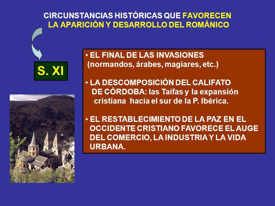 CIRCUNSTANCIAS HISTÓRICAS QUE FAVORECEN LA APARICIÓN Y DESARROLLO DEL ROMÁNICO S. XI EL FINAL DE LAS INVASIONES (normandos, árabes, magiares, etc.) LA