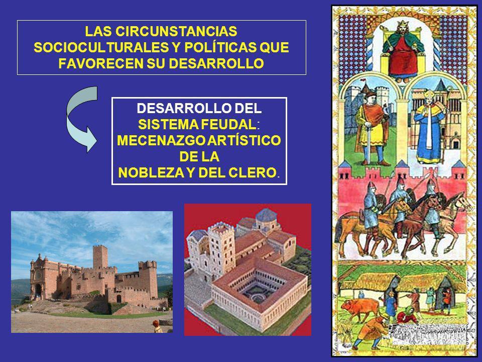 DESARROLLO DEL SISTEMA FEUDAL: MECENAZGO ARTÍSTICO DE LA NOBLEZA Y DEL CLERO. LAS CIRCUNSTANCIAS SOCIOCULTURALES Y POLÍTICAS QUE FAVORECEN SU DESARROL