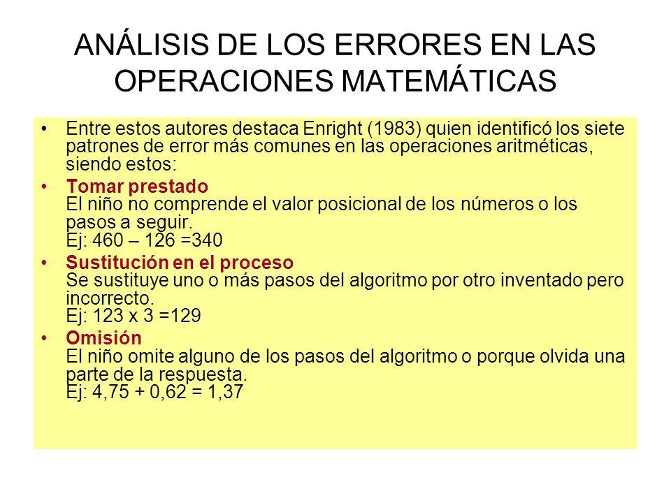 ANÁLISIS DE LOS ERRORES EN LAS OPERACIONES MATEMÁTICAS Entre estos autores destaca Enright (1983) quien identificó los siete patrones de error más com