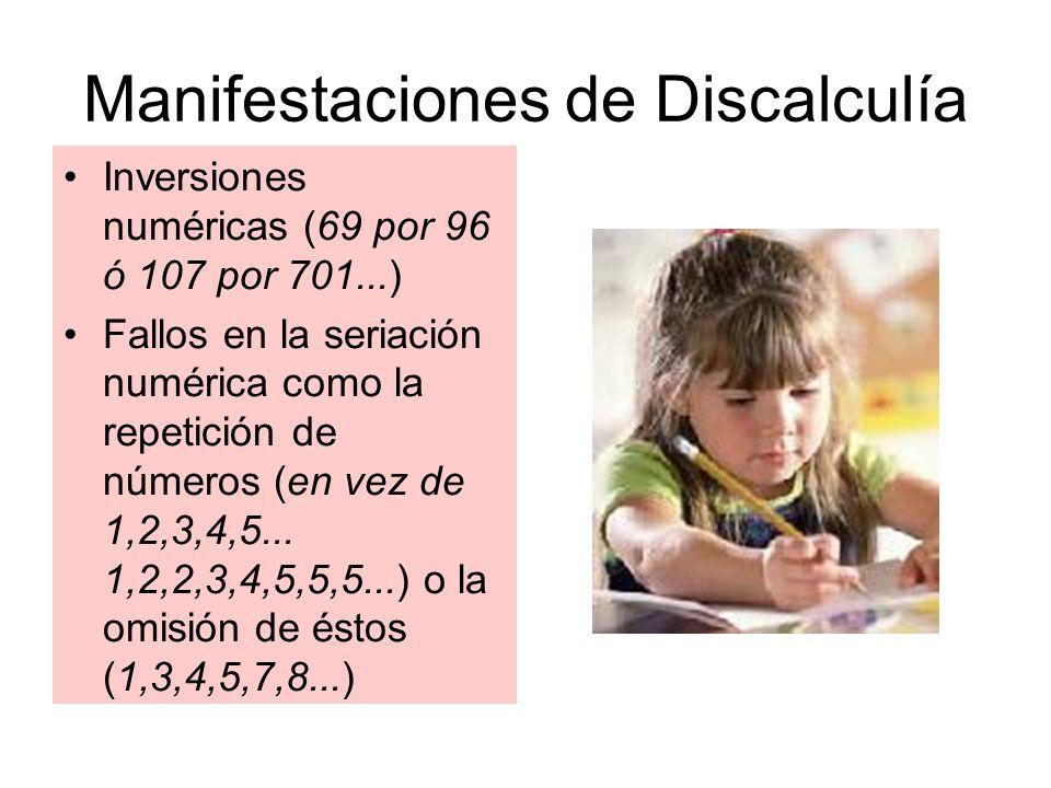 Manifestaciones de Discalculía Inversiones numéricas (69 por 96 ó 107 por 701...) Fallos en la seriación numérica como la repetición de números (en ve