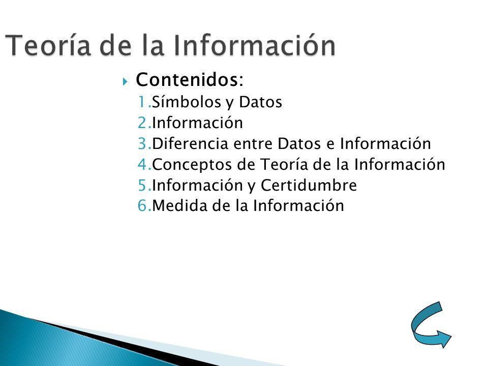 Contenidos: 1.Símbolos y Datos 2.Información 3.Diferencia entre Datos e Información 4.Conceptos de Teoría de la Información 5.Información y Certidumbre 6.Medida de la Información