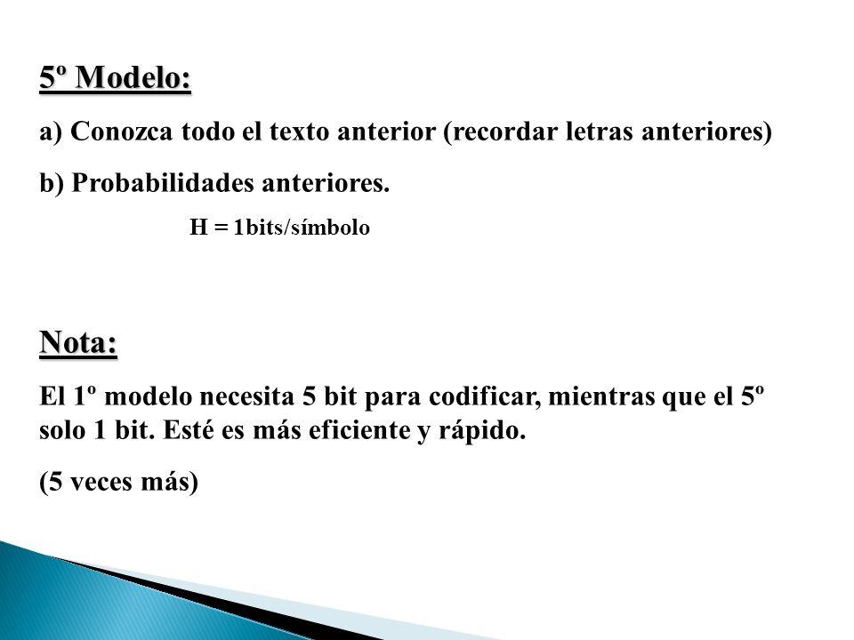 5º Modelo: a) Conozca todo el texto anterior (recordar letras anteriores) b) Probabilidades anteriores.