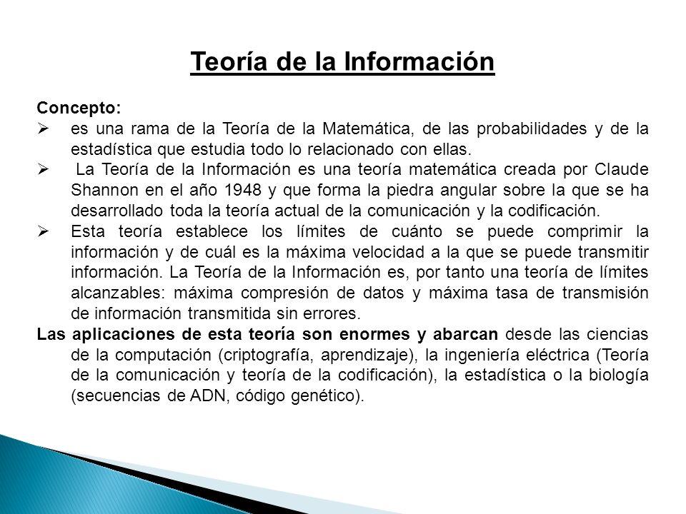 Teoría de la Información Concepto: es una rama de la Teoría de la Matemática, de las probabilidades y de la estadística que estudia todo lo relacionado con ellas.