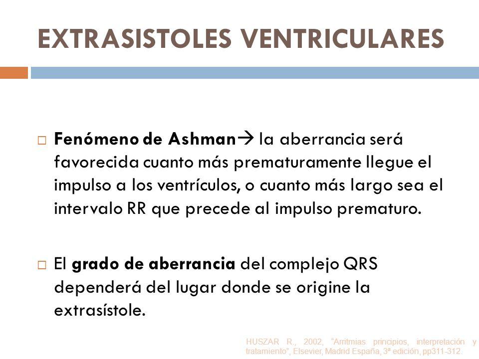 EXTRASISTOLES VENTRICULARES Fenómeno de Ashman la aberrancia será favorecida cuanto más prematuramente llegue el impulso a los ventrículos, o cuanto m