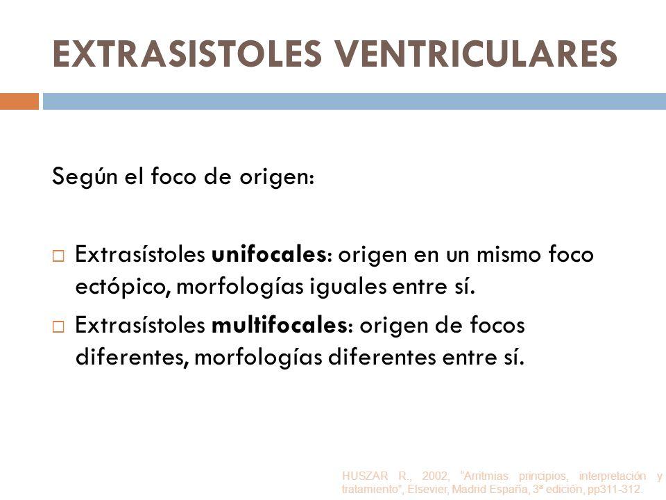 EXTRASISTOLES VENTRICULARES Según el foco de origen: Extrasístoles unifocales: origen en un mismo foco ectópico, morfologías iguales entre sí. Extrasí
