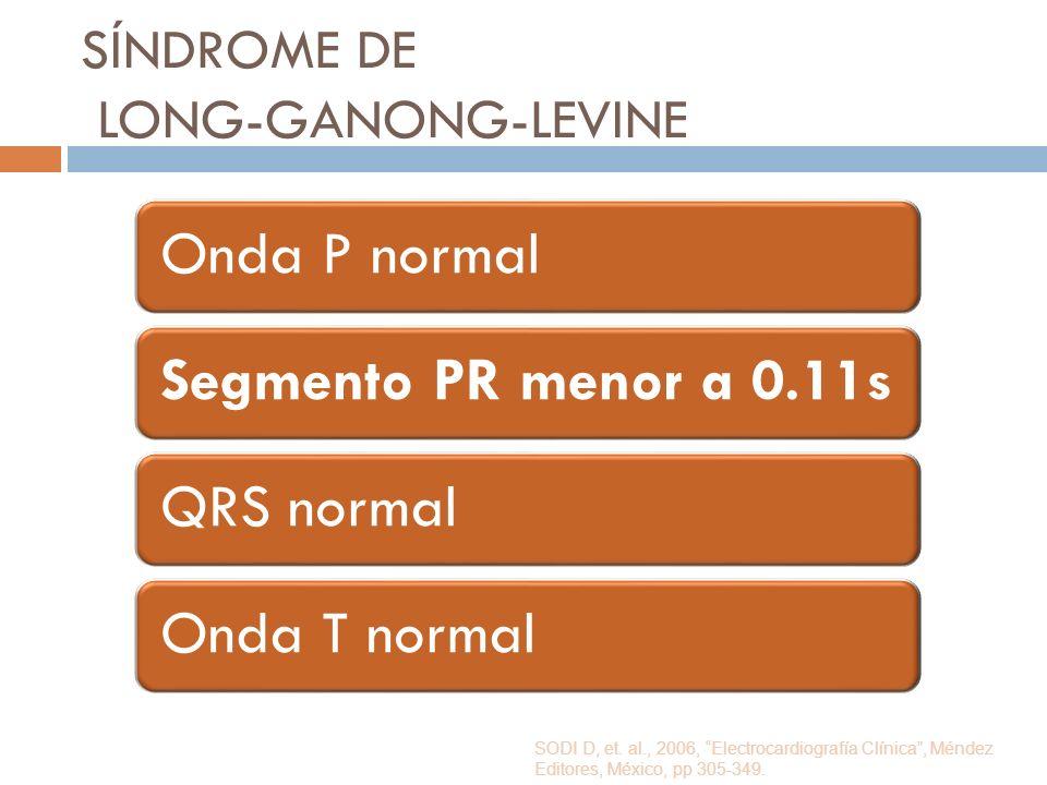 SÍNDROME DE LONG-GANONG-LEVINE Onda P normalSegmento PR menor a 0.11sQRS normalOnda T normal SODI D, et. al., 2006, Electrocardiografía Clínica, Ménde