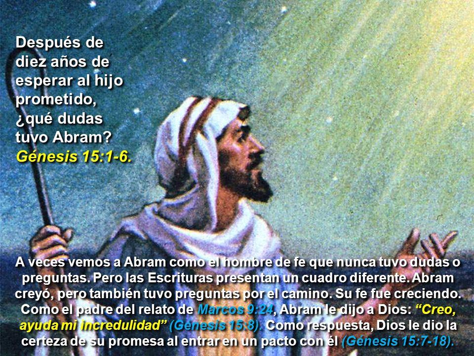 Después de diez años de esperar al hijo prometido, ¿qué dudas tuvo Abram? Génesis 15:1-6. A veces vemos a Abram como el hombre de fe que nunca tuvo du