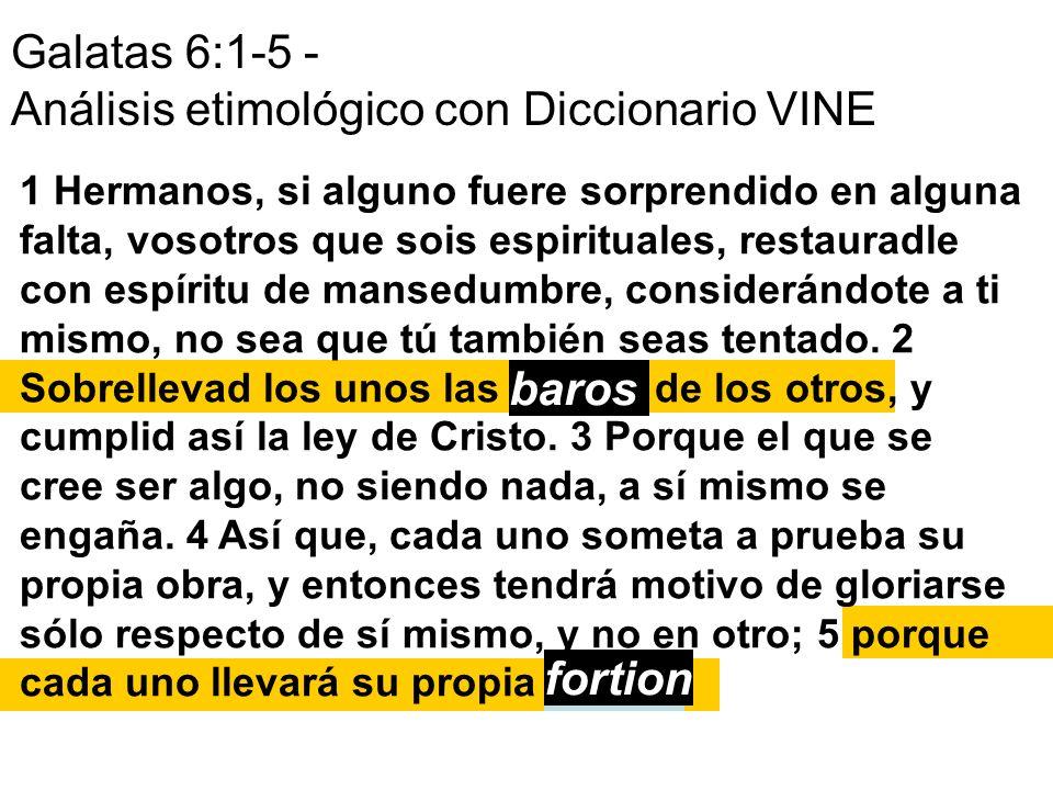 Galatas 6:1-5 - Análisis etimológico con Diccionario VINE 1 Hermanos, si alguno fuere sorprendido en alguna falta, vosotros que sois espirituales, res