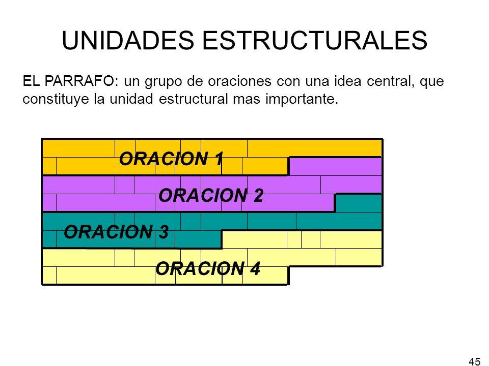 UNIDADES ESTRUCTURALES EL PARRAFO: un grupo de oraciones con una idea central, que constituye la unidad estructural mas importante. ORACION 1 ORACION