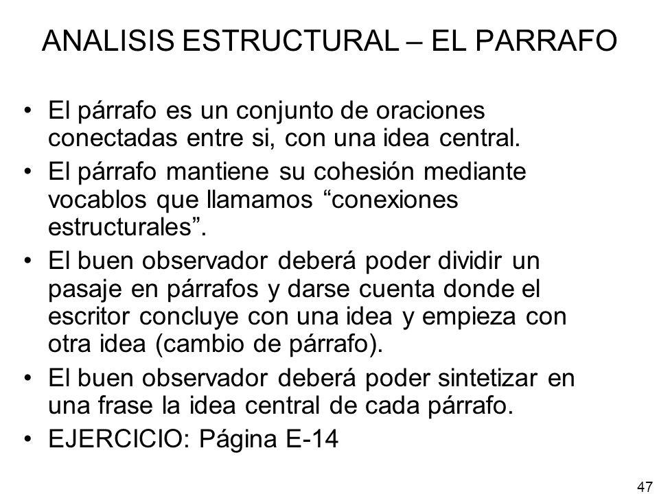 ANALISIS ESTRUCTURAL – EL PARRAFO El párrafo es un conjunto de oraciones conectadas entre si, con una idea central. El párrafo mantiene su cohesión me
