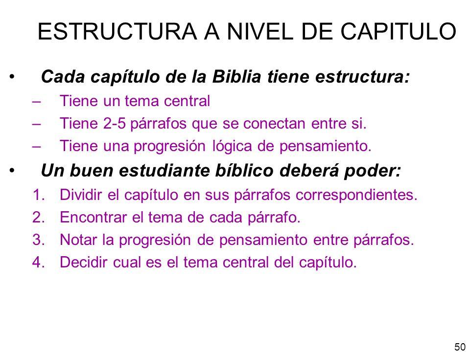 ESTRUCTURA A NIVEL DE CAPITULO Cada capítulo de la Biblia tiene estructura: –Tiene un tema central –Tiene 2-5 párrafos que se conectan entre si. –Tien